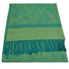 JS012-Turquoise-Lime-Jacquard-Shawl