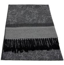 JS015 Grey Black Jacquard  Shawl