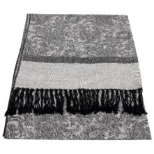 JS016 Black Silver Jacquard Shawl